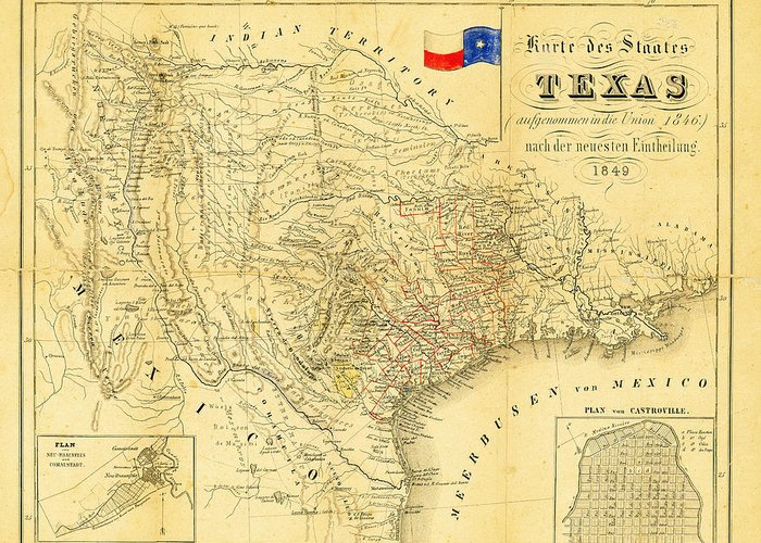 1849 Texas Map Greeting Card featuring the photograph 1849 Texas Map by Bill Cannon