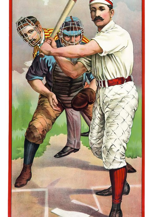 Baseball Greeting Card featuring the photograph 1895 In The Batters Box by Daniel Hagerman