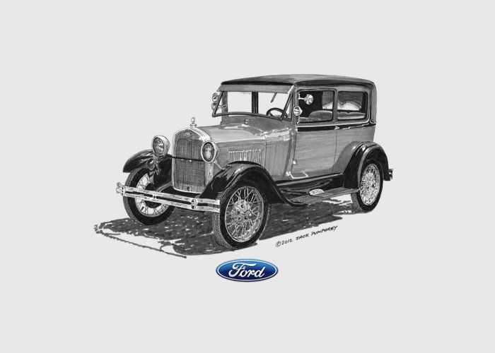 1928 Ford Model A Tee Shirt Art Greeting Card featuring the painting 1928 Model A Ford 2 Dr Sedan by Jack Pumphrey