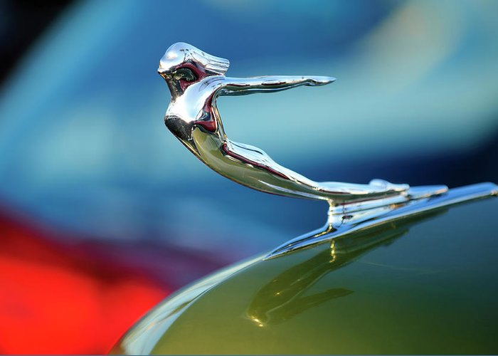 1936 Cadillac Greeting Card featuring the photograph 1936 Cadillac Hood Ornament 2 by Jill Reger