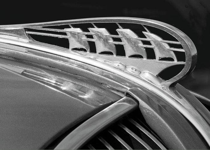 1938 Plymouth Greeting Card featuring the photograph 1938 Plymouth Hood Ornament 2 by Jill Reger