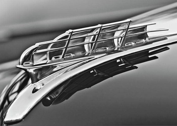 1949 Plymouth Greeting Card featuring the photograph 1949 Plymouth Hood Ornament 2 by Jill Reger