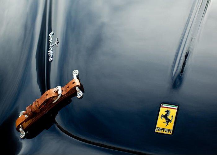 1950 Ferrari Greeting Card featuring the photograph 1950 Ferrari Hood Emblem by Jill Reger
