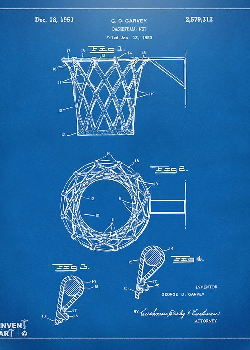 Basketball Greeting Card featuring the drawing 1951 Basketball Net Patent Artwork - Blueprint by Nikki Marie Smith
