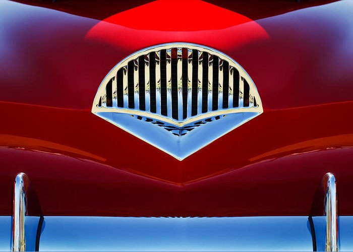 Transportation Greeting Card featuring the photograph 1954 Kaiser Darrin Grille by Jill Reger