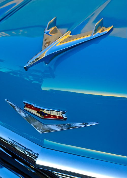 1956 Chevrolet Greeting Card featuring the photograph 1956 Chevrolet Hood Ornament 4 by Jill Reger
