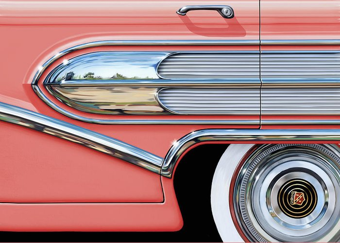 Buick Greeting Card featuring the digital art 1958 Buick Side Chrome Bullet by David Kyte