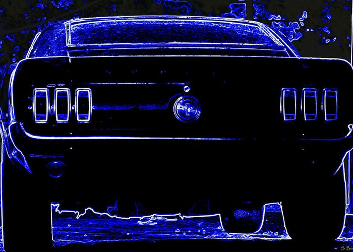 Mustang Greeting Card featuring the photograph 1969 Mustang In Neon 2 by Susan Bordelon