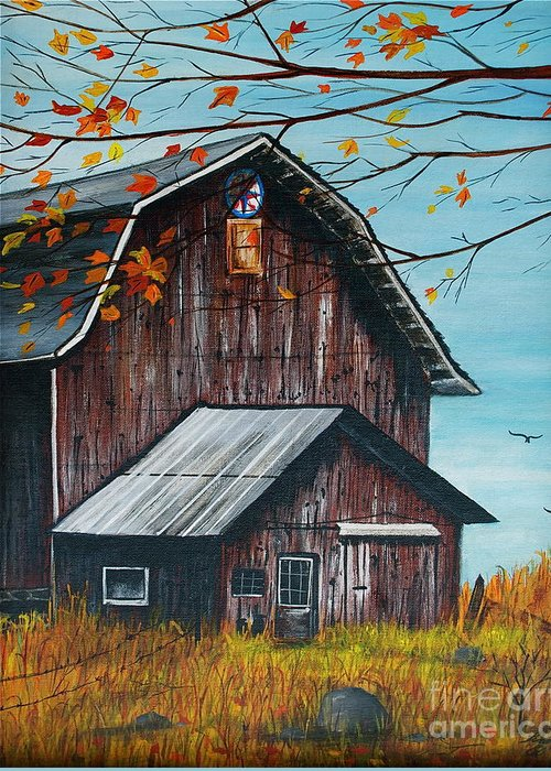 Barn Greeting Card featuring the painting 1980 Barn by Linda Simon