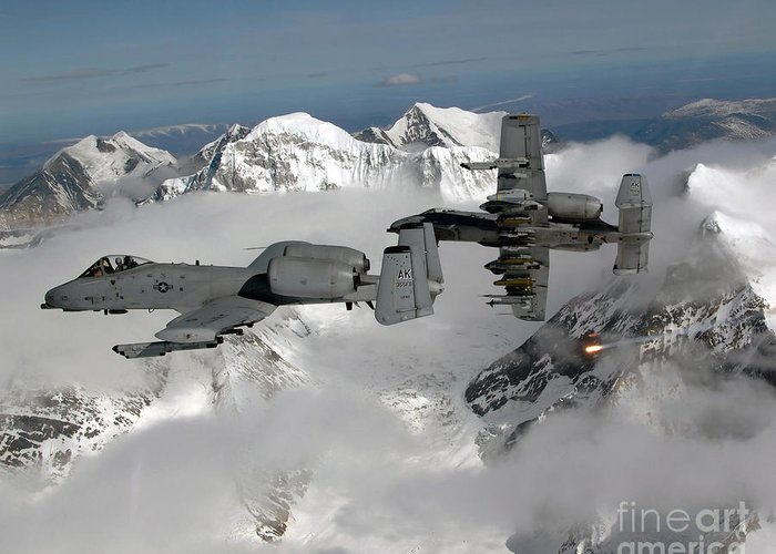 A-10 Greeting Card featuring the photograph A-10 Thunderbolt IIs Fly by Stocktrek Images