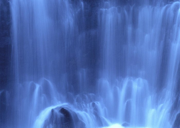Blue Greeting Card featuring the photograph Blue Waterfall by Bernard Jaubert