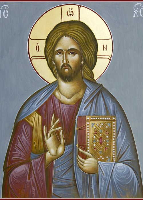 Icon Greeting Card featuring the painting Christ Pantokrator by Julia Bridget Hayes