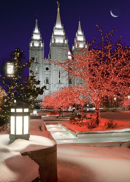 Mormon Temple Greeting Card featuring the photograph Christmas Lights At Temple Square by Utah Images