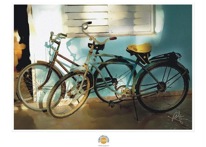 Caribbean Greeting Card featuring the painting 2 Cuban Bicycles by Bob Salo