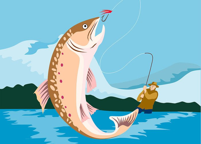 Fly Fisherman Greeting Card featuring the digital art Fly Fisherman Catching Trout by Aloysius Patrimonio