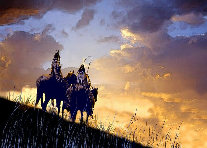 Native Americans Greeting Card featuring the painting Going Home by Paul Sachtleben