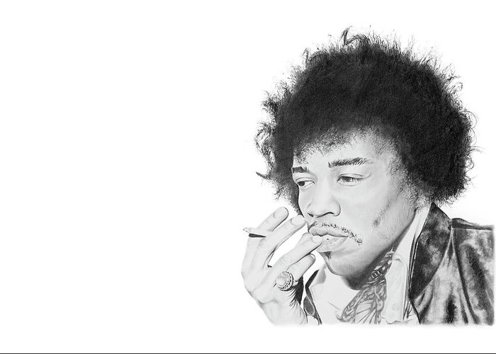 Hendrix Greeting Card featuring the drawing Jimi Hendrix by Don Medina