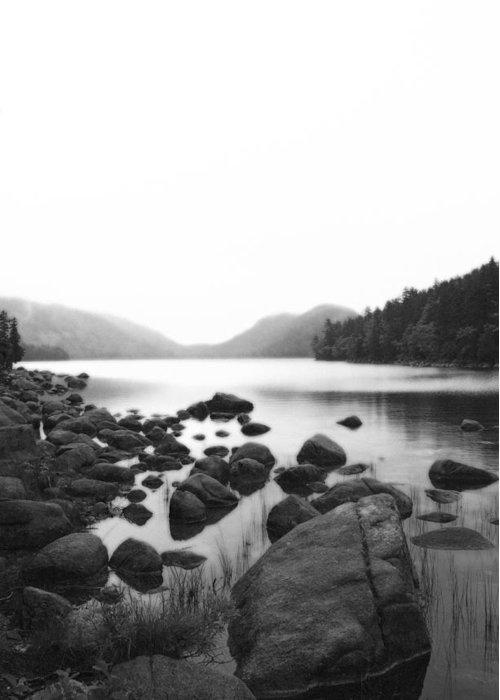 Black Greeting Card featuring the photograph Jordan Pond by Becca Brann