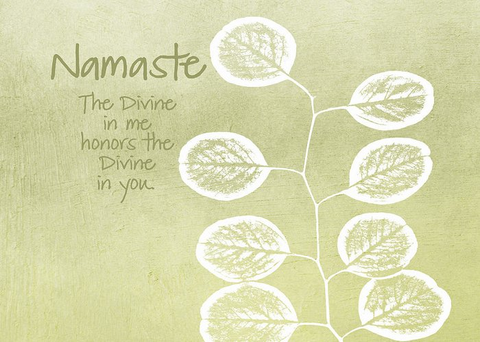 Namaste Greeting Card featuring the mixed media Namaste by Linda Woods