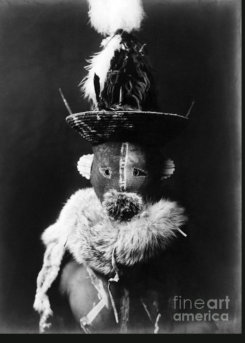 1905 Greeting Card featuring the photograph Navajo Mask, C1905 by Granger