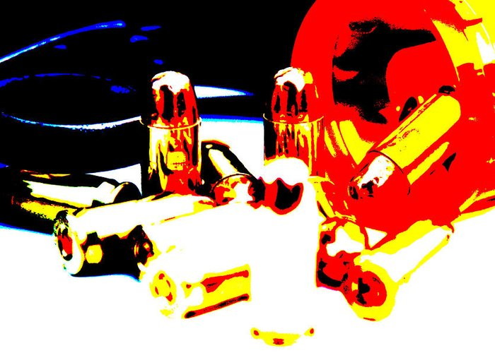 Pop Art Greeting Card featuring the photograph Pop Art Of .45 Cal Bullets Comming Out Of Pill Bottle by Michael Ledray