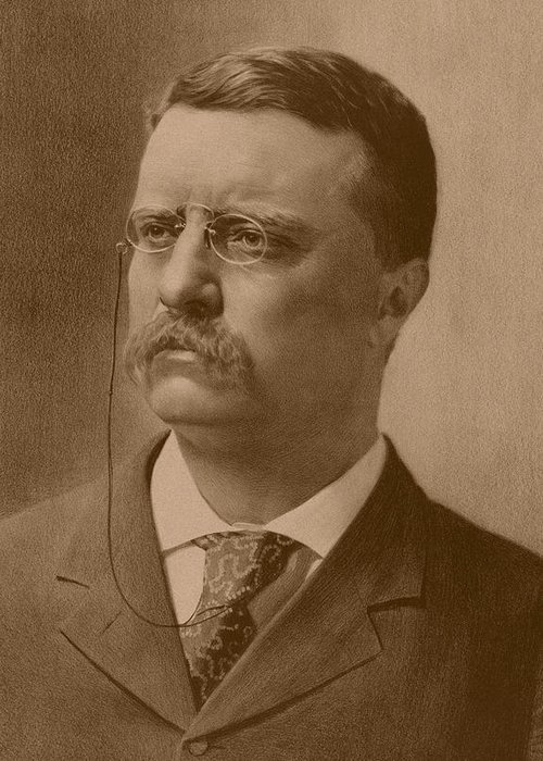Teddy Roosevelt Greeting Card featuring the drawing President Theodore Roosevelt by War Is Hell Store
