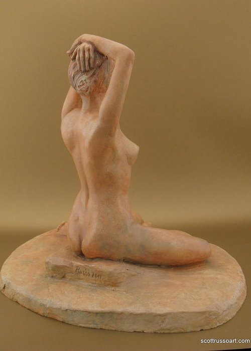 Sculpture Greeting Card featuring the ceramic art Shenel by Scott Russo