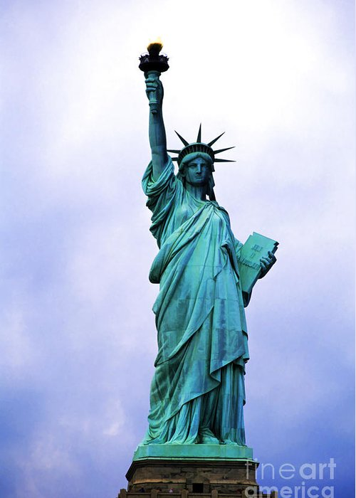America Greeting Card featuring the photograph Statue Of Liberty by Sami Sarkis
