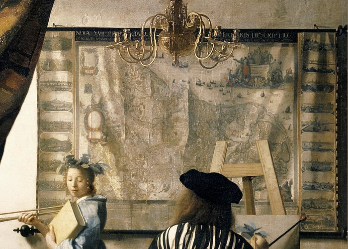 Drapes Greeting Card featuring the painting The Artist's Studio by Jan Vermeer