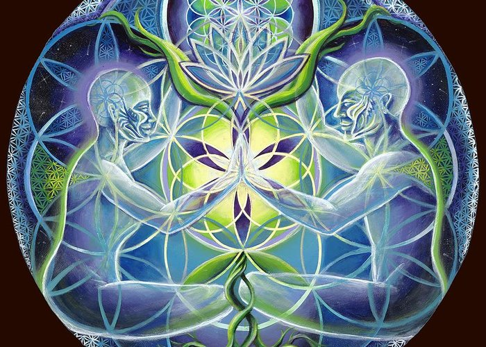 Flower Greeting Card featuring the painting The Flowering Of Divine Unification by Morgan Mandala Manley