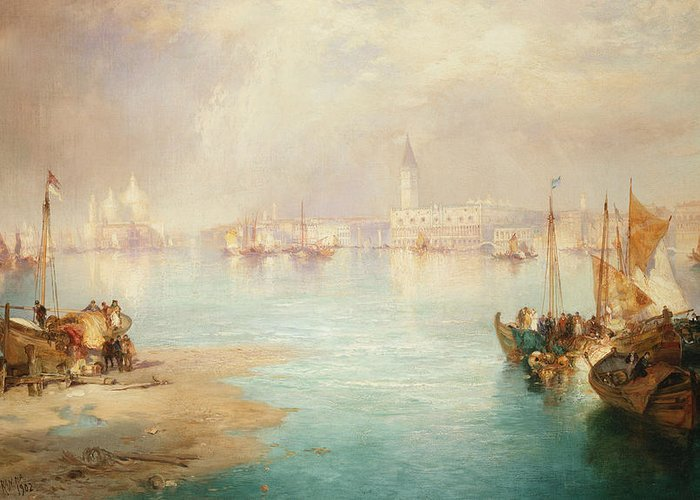 Thomas Moran Greeting Card featuring the painting Venice by Thomas Moran