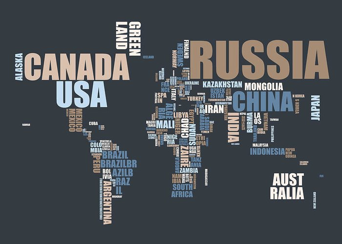 World Map Greeting Card featuring the digital art World Map In Words by Michael Tompsett