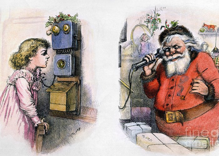 1884 Greeting Card featuring the photograph Thomas Nast: Santa Claus by Granger