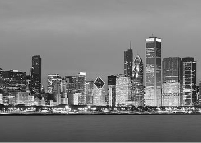 Chicago Greeting Card featuring the photograph 2010 Chicago Skyline Black And White by Donald Schwartz