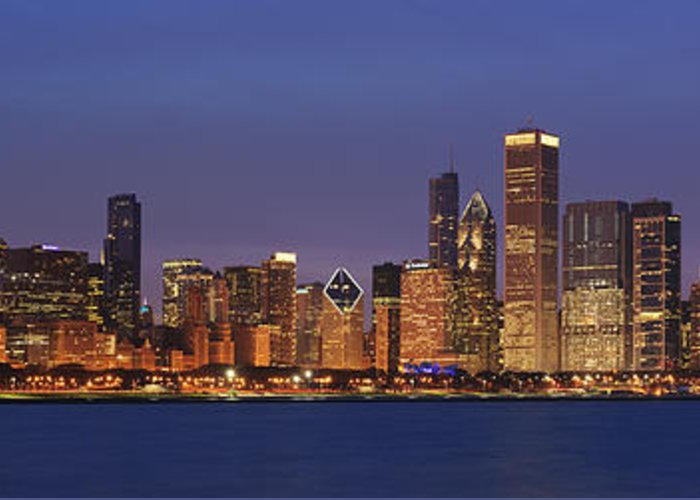 Chicago Greeting Card featuring the photograph 2010 Chicago Skyline by Donald Schwartz