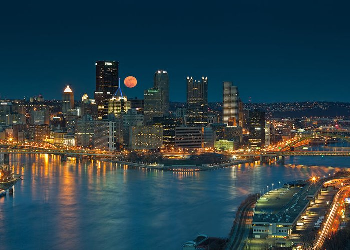 Pittsburgh Greeting Card featuring the photograph 2011 Supermoon Over Pittsburgh by Jennifer Grover