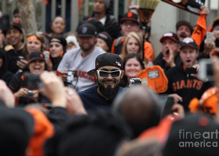 Sport Greeting Card featuring the photograph 2012 San Francisco Giants World Series Champions Parade - Sergio Romo - Dpp0007 by Wingsdomain Art and Photography