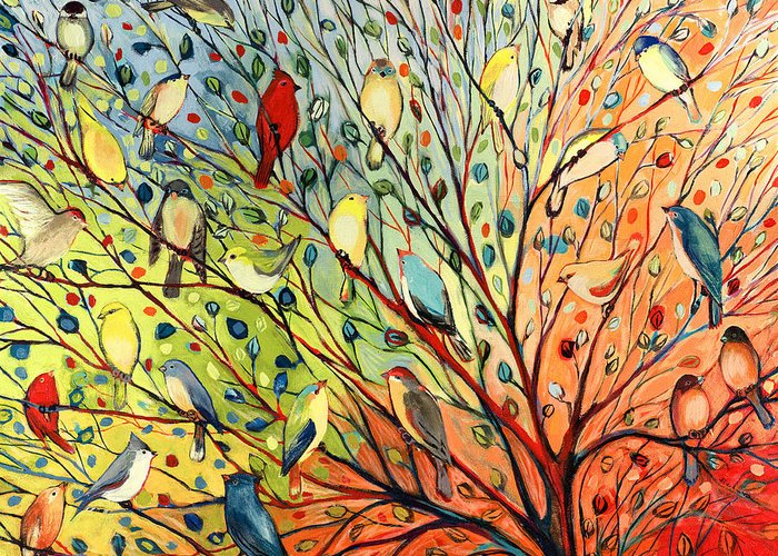 Bird Greeting Card featuring the painting 27 Birds by Jennifer Lommers