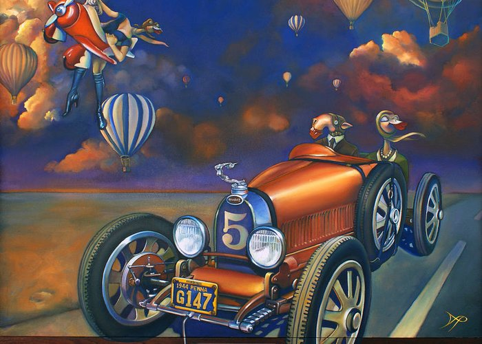 Bugatti Greeting Card featuring the painting A Selfish Pair Of Jeans by Patrick Anthony Pierson