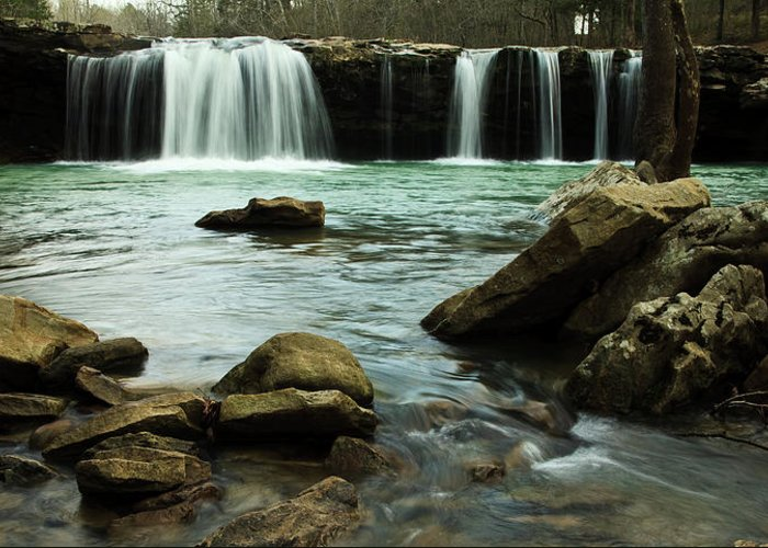 Landscape Greeting Card featuring the photograph Falling Water Falls by Iris Greenwell