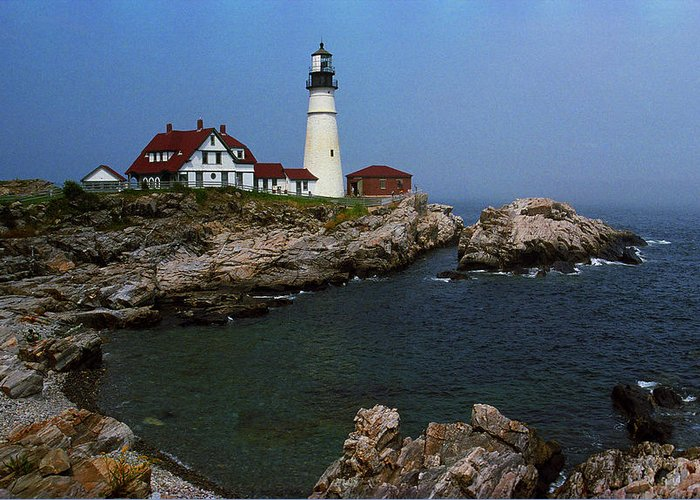America Greeting Card featuring the photograph Lighthouse - Portland Head Maine by Frank Romeo