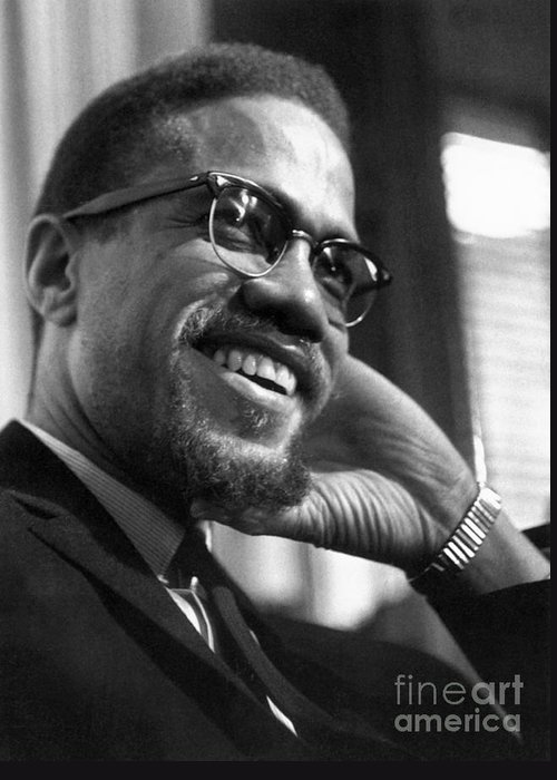 1960s Greeting Card featuring the photograph Malcolm X (1925-1965) by Granger