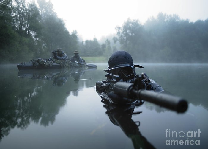 Special Operations Forces Greeting Card featuring the photograph Special Operations Forces Combat Diver by Tom Weber