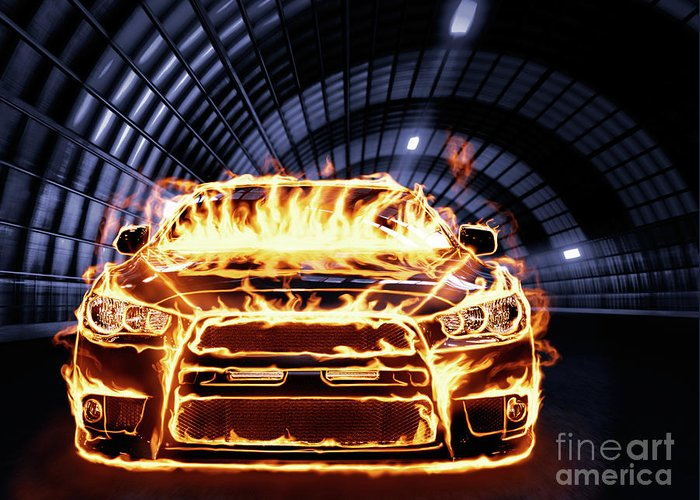 Car Greeting Card featuring the photograph Sports Car In Flames by Oleksiy Maksymenko