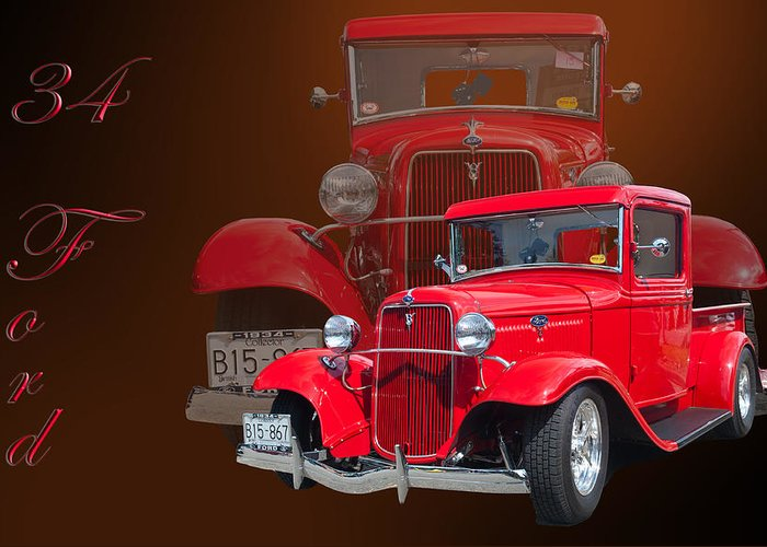 Car Greeting Card featuring the photograph 34 Ford Pick Up by Jim Hatch