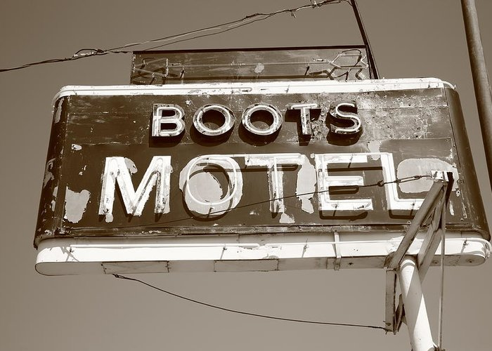 66 Greeting Card featuring the photograph Route 66 - Boots Motel by Frank Romeo
