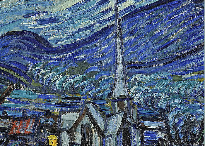 Starry Greeting Card featuring the painting The Starry Night by Vincent Van Gogh