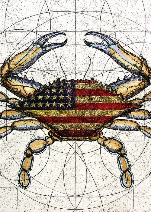 Charles Harden Greeting Card featuring the mixed media 4th Of July Crab by Charles Harden