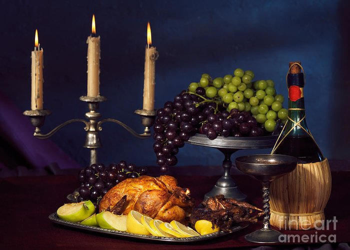 Feast Greeting Card featuring the photograph Artistic Food Still Life by Oleksiy Maksymenko