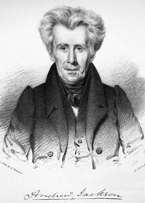 19th Century Greeting Card featuring the photograph Andrew Jackson (1767-1845) by Granger